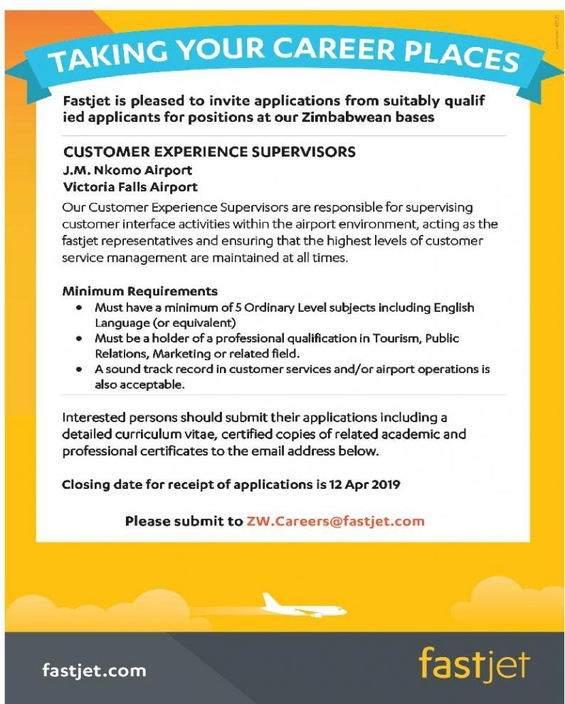 VACANCY: fastjet invite applications