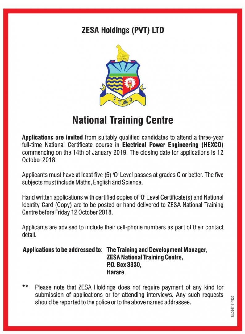 Zesa Holding National Training Intake Electrical Wiring Classes Domestic Installation House Course The Centre Will Be Running A From 1st To
